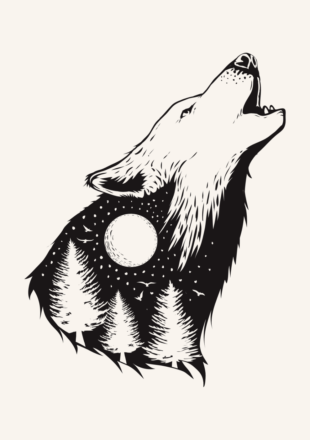 Wolf Illustration Print / Black and White wolf Poster