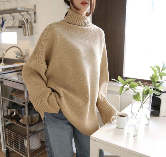 afd207ef62 4Colors High Neck Cozy knit Sweater  Long sleeves Pullover oversized knit  top  loose fit sweater plu