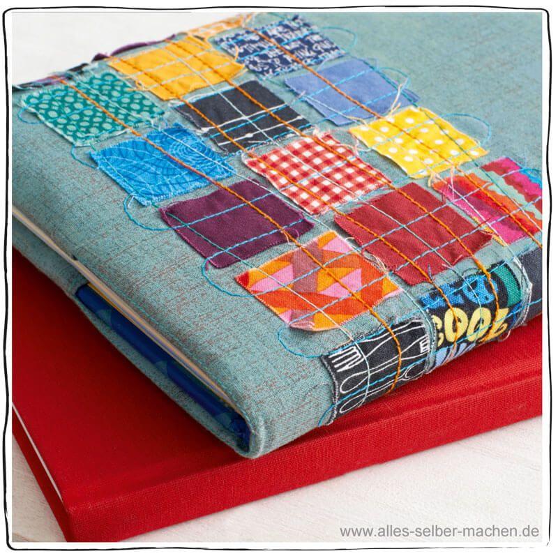 tutorial patchwork bucheinband n hen. Black Bedroom Furniture Sets. Home Design Ideas