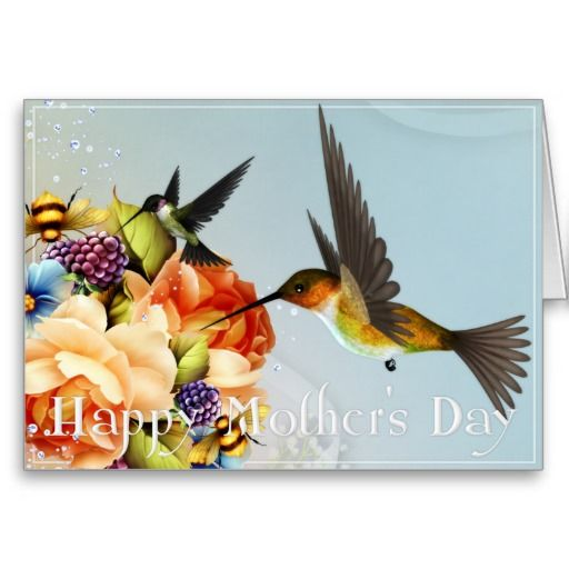 Hummingbirds & Roses Happy Mother's Day Card