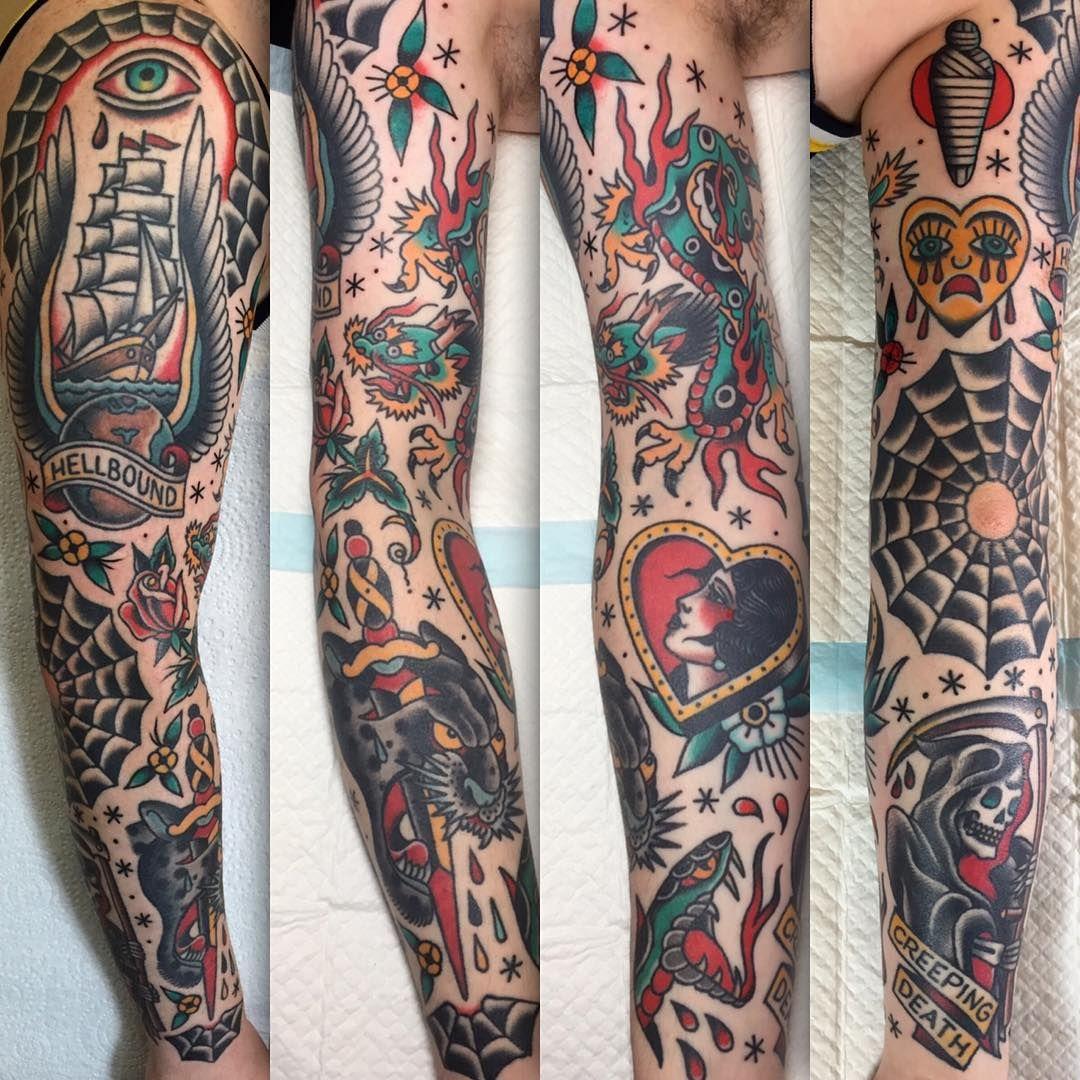 Peppermint Jones Traditional Tattoo Sleeve Tattoos Traditional Tattoo Design
