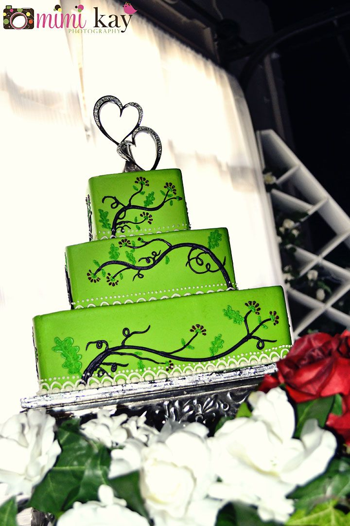 square black and white wedding cakes pictures%0A lime green wedding cake add purple  u     red flowers