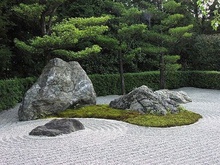 not all japanese gardens feature actual water many represent water with stones gravel or sand the sand in this garden has been raked to look like ripples