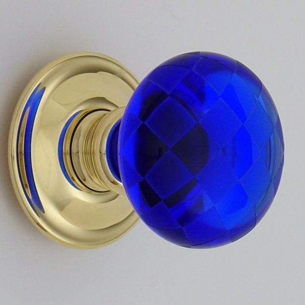 i am obsessed with colbolt blue this chequerboard glass door knob