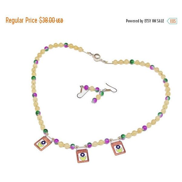 ON SALE Jade Bead Necklace, Enamel Charms, Yellow Jade, Multicolor... (125 ILS) ❤ liked on Polyvore featuring jewelry and necklaces