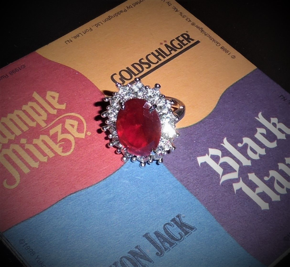 Large Crystal Glass StatementCocktail Costume Jewelry Ring Red 7