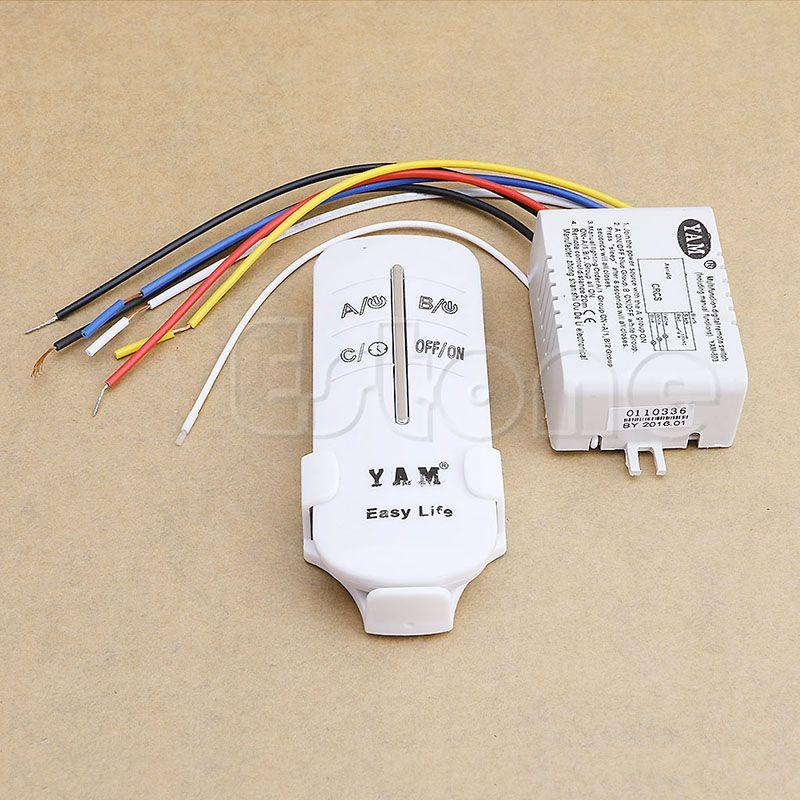 1 Set 220 V Draadloze Op Off 3 Manieren Lamp Afstandsbediening Schakelaar Ontvanger Zender Electrical Equipment Remote Lighting