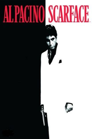 The Famous Black And White Poster Of The Scarface Movie With Al Pacino Starring As Montana This Famous Movie Scenes The Godfather Poster Classic Movie Posters