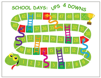 School Days Ups Downs Free Printable Board Game