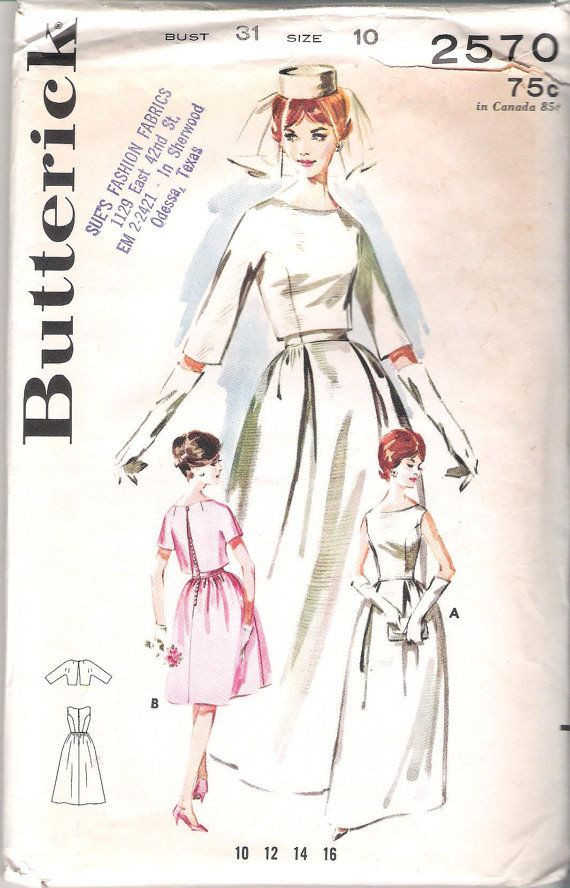 Butterick 2570 Misses Bell Skirted 1960s Bridal Gown; Size 10, Bust ...
