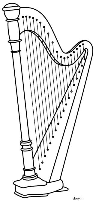 Dessin A Imprimer Une Harpe Harpe Dessin Instrument De Musique Coloriage Musique