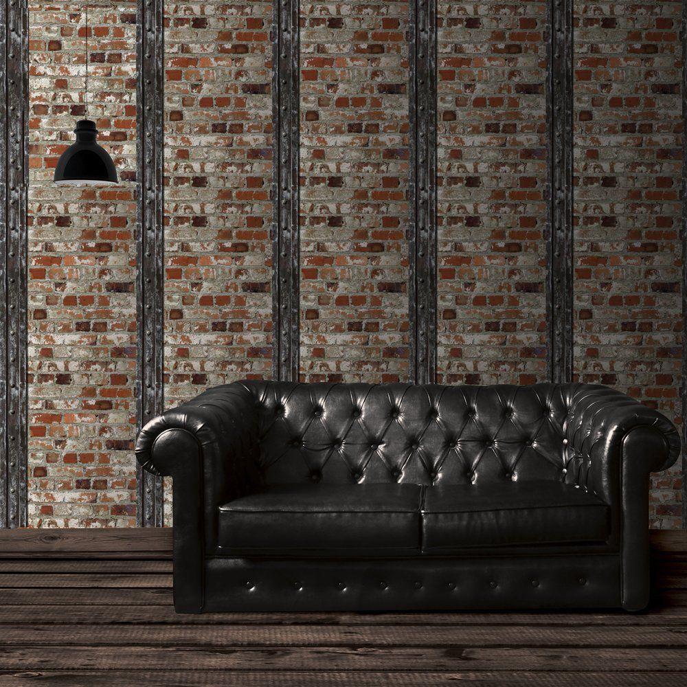 Muriva tapete loft ziegelsteine und balken mehrfarbig for Tapete farbig