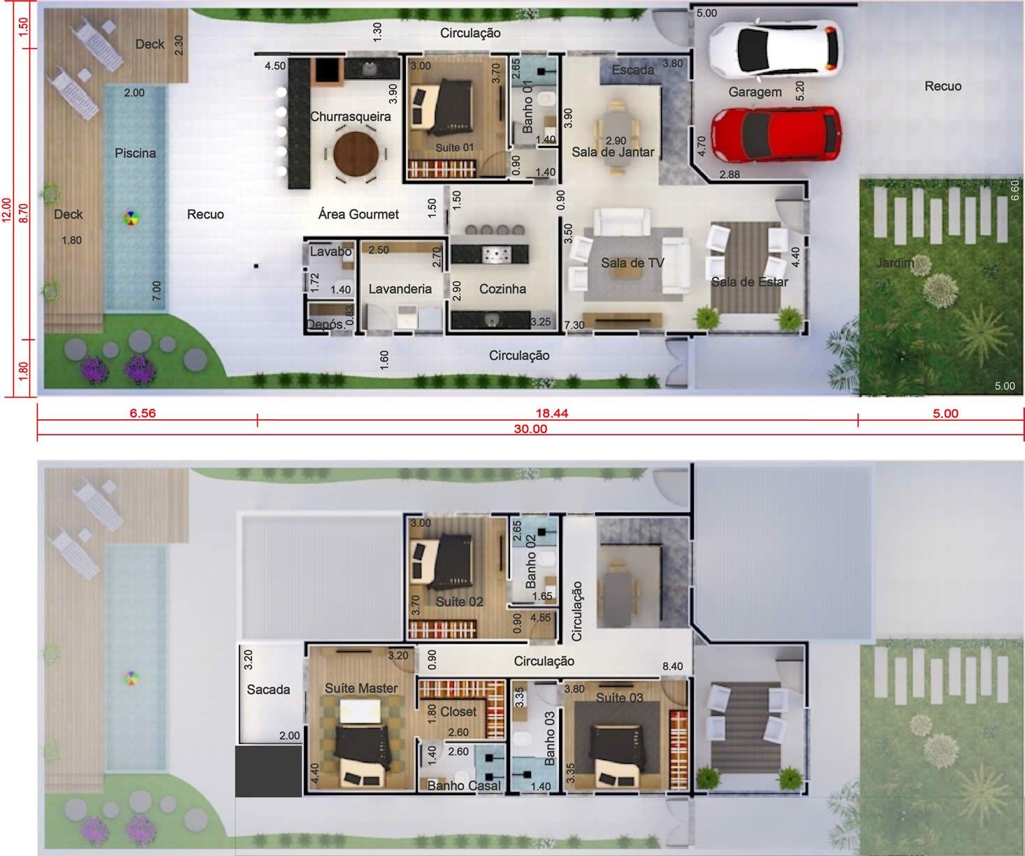 Sobrado con habitaci n de abajo plano para terreno 12x30 for Plano habitacion 3d