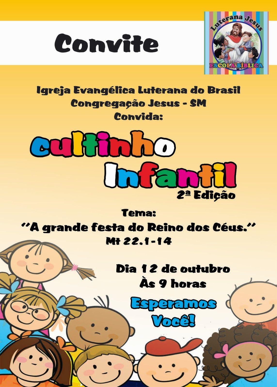 Escola Dominical Congregação Jesus Sm Convite Cultinho Infantil
