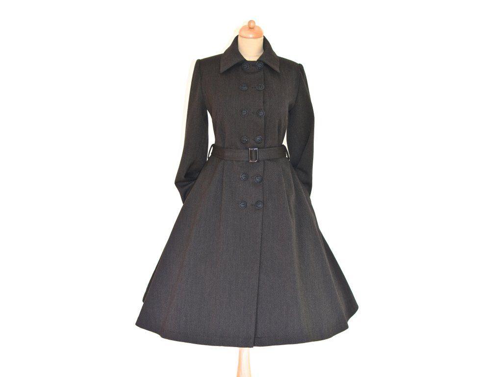 Na zakázku šitý retro kabát. střih podtrhující postavu vypasovaný v pase  3 4 kolová sukně dvouřadé zapínání přídavný kožešinový límec 83156211f1