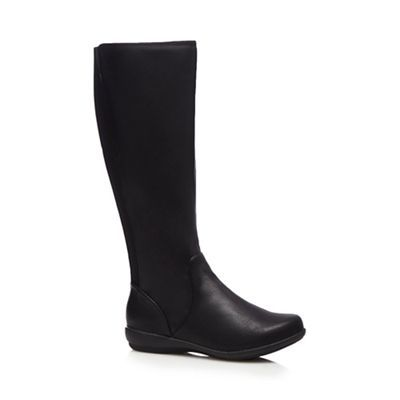 Black knee high flat wide fit boots