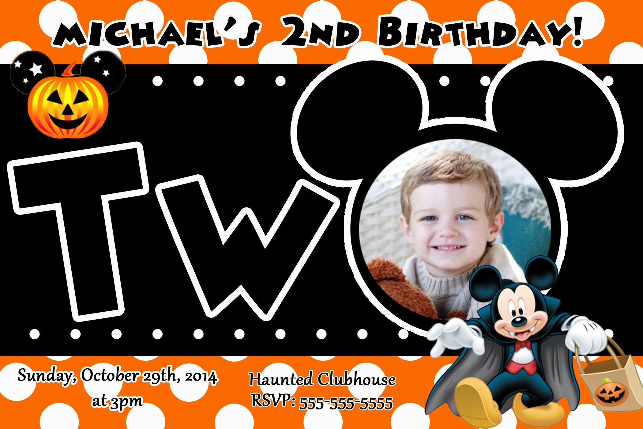 Mickey Mouse 2nd birthday halloween invitations $8.99 | Halloween ...