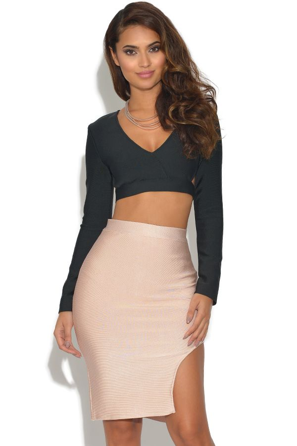 2b9777be990 Vestry | 2 Piece Co Ord Bandage Top and Skirt Set in Black/Nude at  www.vestry.com