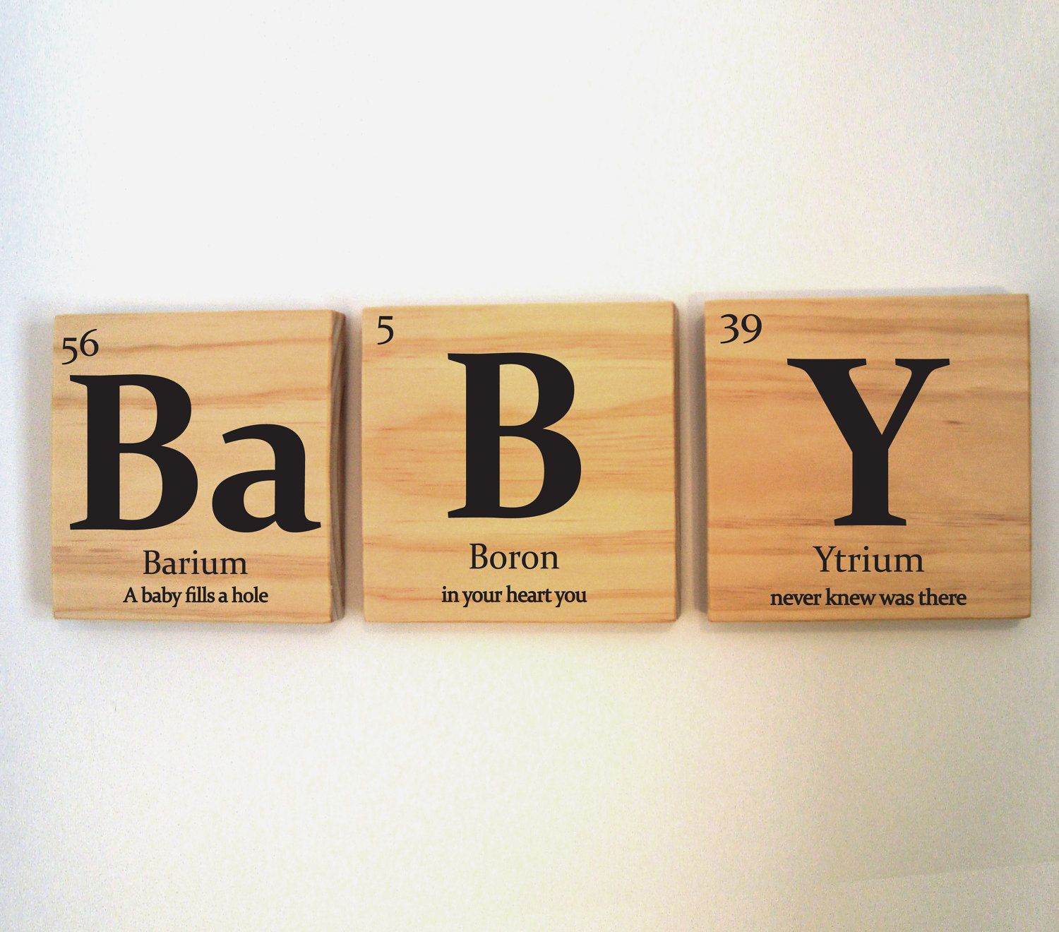 Baby Wooden Tile Wall Art With Quote Periodic Table Of Elements