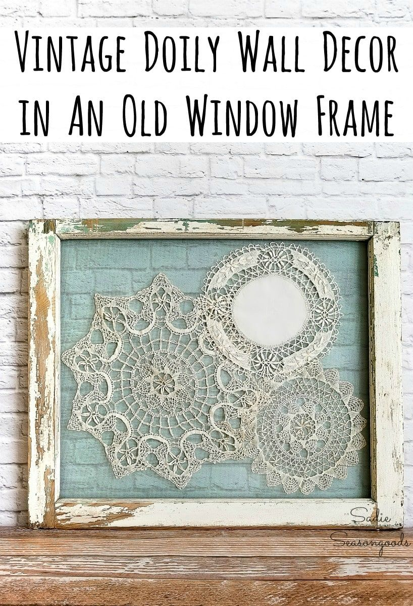 Shabby Chic Wall Decor With Lace Doilies And An Old Window Frame In 2020 Shabby Chic Wall Art Shabby Chic Wall Decor Chic Wall Art
