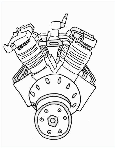 How To Draw A Car Engine Halloween Car Engine Car Drawings