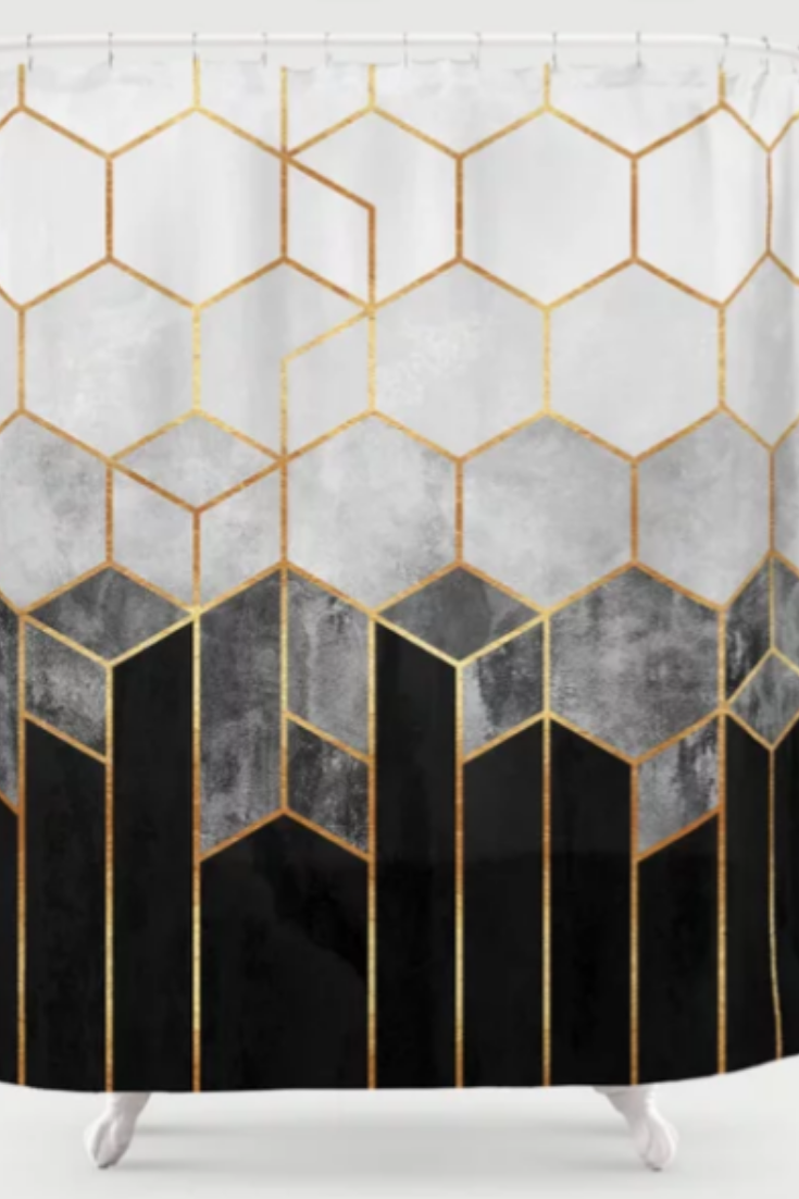 black white gold shower curtain