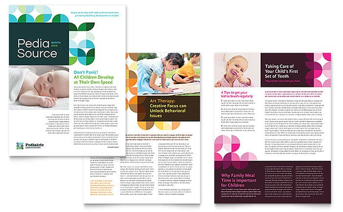 Pediatric Doctor Newsletter Template Design by StockLayouts work - ms word newsletter templates