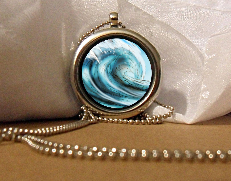 Tsunami Art Necklace, Tidal Wave Pendant, Water Wave Necklace, Tsunami, Tsunami Artwork, Art Pendant, Floating Charm, Water Jewelry by NanaFantasyJewelry on Etsy