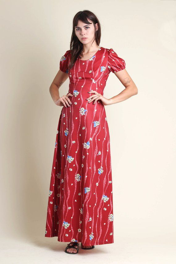 6d46217d2a vintage 70s WINE RED empire FLORAL maxi dress size S / puff sleeve babydoll  boho hippie maxi sun dre