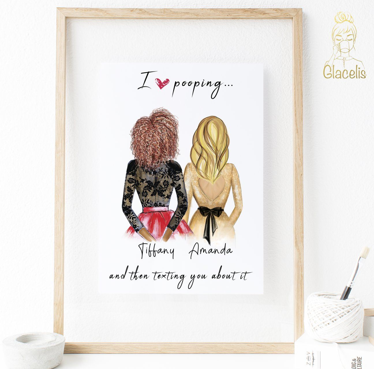 Personalized Best Friend Wall Art I Love Pooping And Then Texting You About It Best Friend Frames My Best Friend S Birthday Sentimental Gifts