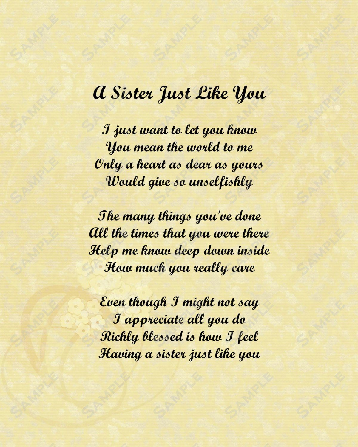 Sisters Poems That Comes From The Heart. I Love My Sister