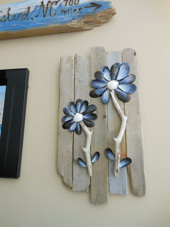 Driftwood Wall Art Blue Mussel Shell