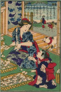 Utagawa Yoshifuji 歌川芳藤 Raising Silkworms 養蚕の図