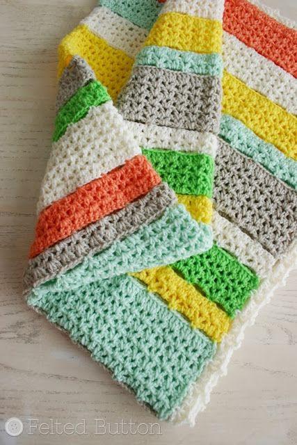 Felted Button - Colorful Crochet Patterns: A Free Crochet Blanket Pattern for YOU! @Carol Van De Maele Van De Maele Thomas