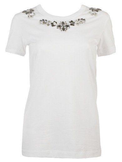 DOLCE & GABBANA T-Shirt Dolce & Gabbana, White Cotton , Lengthened Hem, Round Neck With Rhinestone Embellishments Un. #dolcegabbana #cloth #topwear