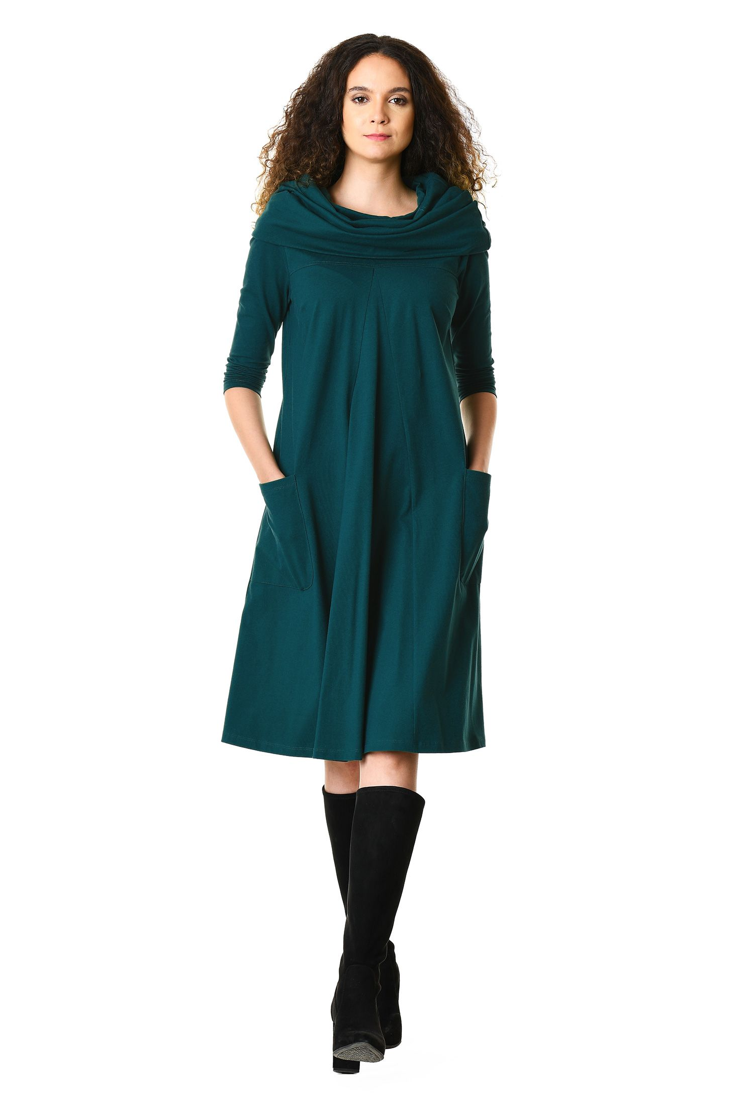 Cowl neck cotton knit dress | Responsible Fashion | Pinterest ...