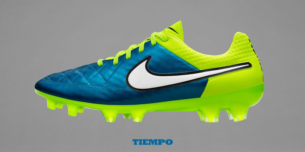 hot sale online 2b54e 30da6 The Nike Women s Tiempo Legend V soccer cleats focus on touch and comfort. The  bright blue and volt soccer cleats will be worn by Julie Johnston this  summer ...