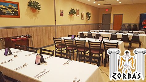 Need a great location with great food for your next event? Zorbas can host it in their banquet room!  Come back and try all your favorite Greek meals and appetizers including Kalamaria Tiganita, fried whole, with tentacles.  115 East First St., Sanford, FL  zorbasgreekfood.com   (407) 915-6082   twitter.com/ZorbasGreekFood   plus.google.com/+ZorbasGreekFoodSanford