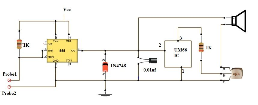 continuity tester with melody 555 circuits pinterest circuit rh pinterest com Tone Generator Circuit Diagram Test Light Circuit Diagram