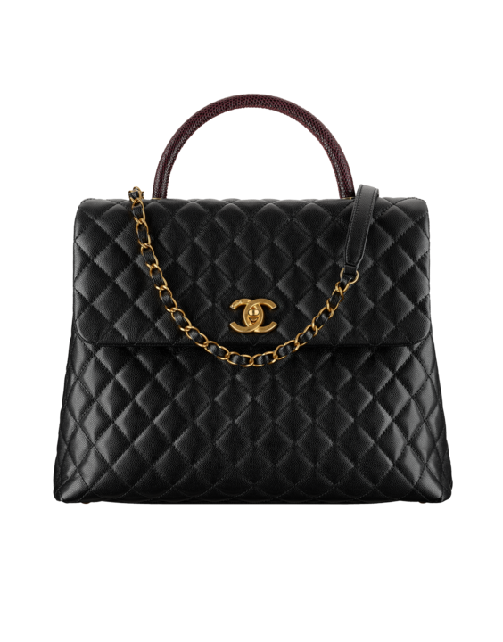 Chanel Black Burgundy Coco Handle Large Bag  c4a1d7e2db82