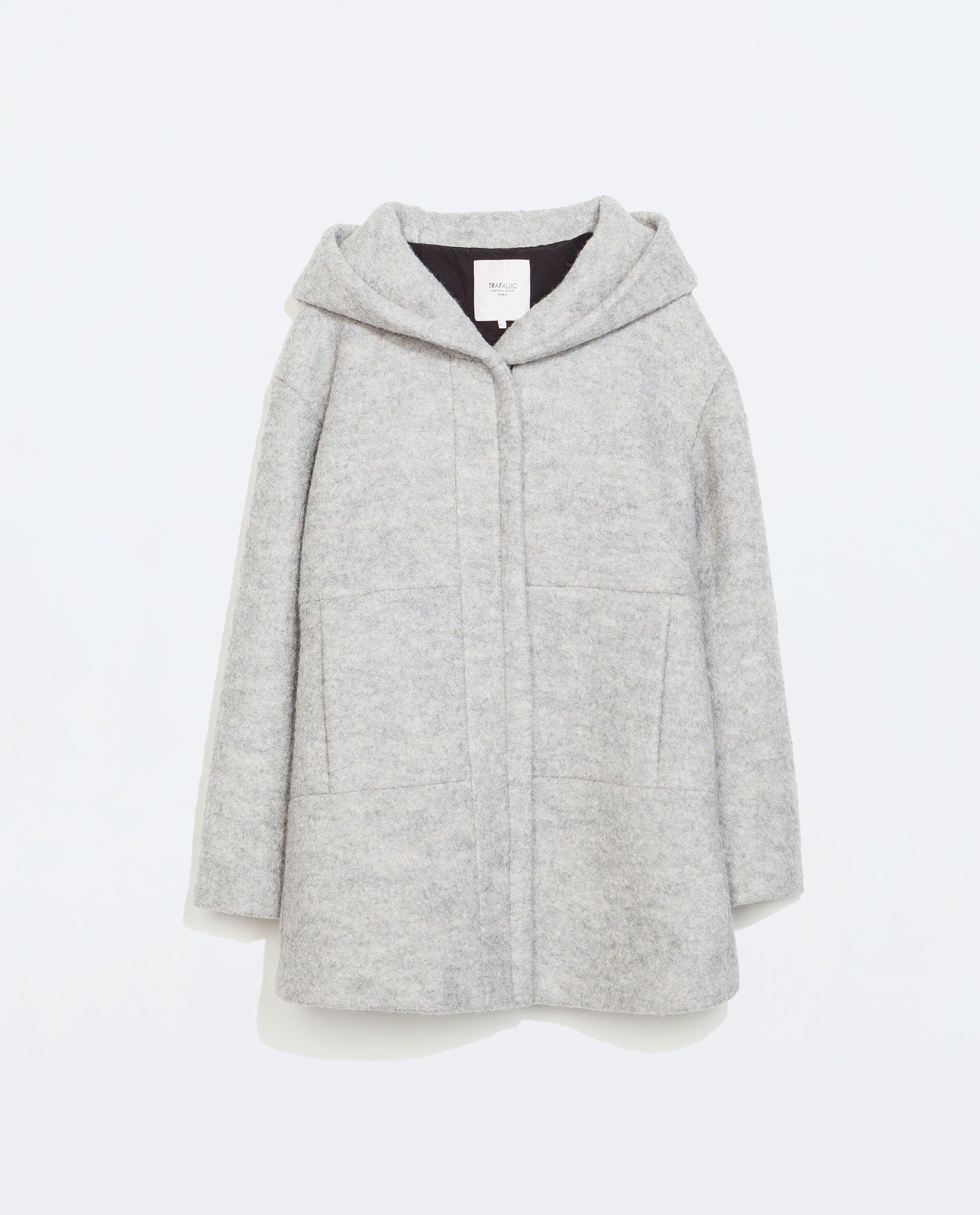 Grey Wool Coat With Hood Down Coat