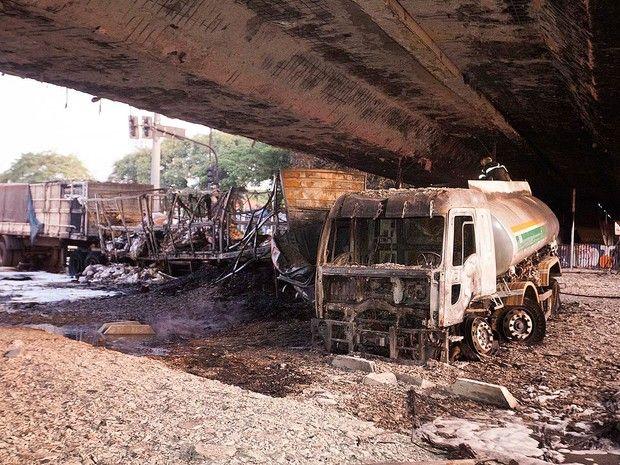 Acidente entre caminhões, um estava carregada de gasolina e houve uma explosão | Megamax Top
