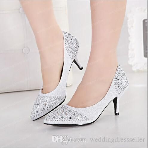 In Stock Silver Black Champagne Rhinestones Low Heel Wedding Shoes New Style Fashion Crystals Bridal Beads