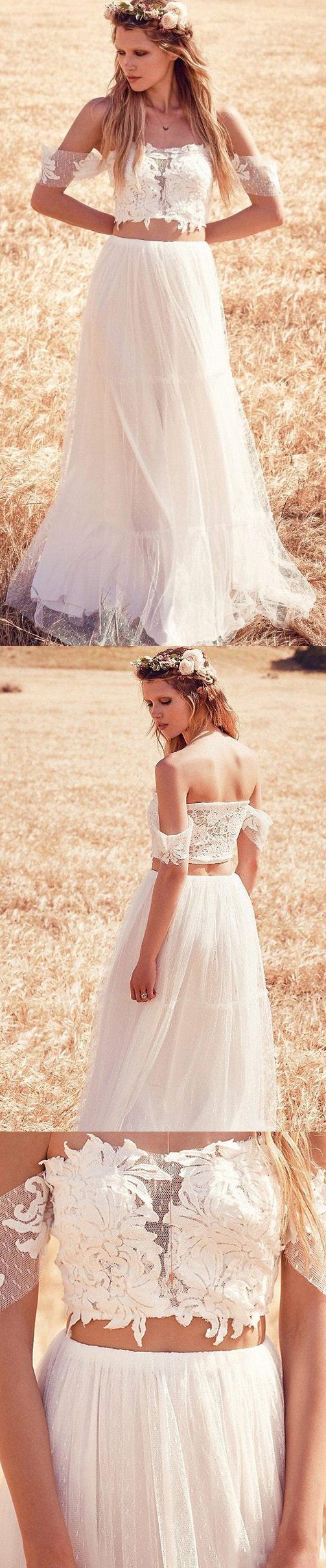 Lace ivory wedding dresses cute long offtheshoulder short sleeve