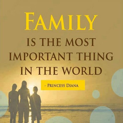Family is the most important thing in the world. ~ Princess Diana ~