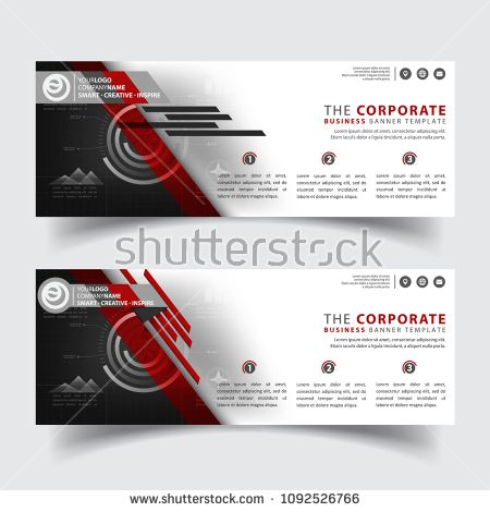 Horizontal corporate business banner vector templates clean simple modern creative abstract background layout for website also rh gr pinterest