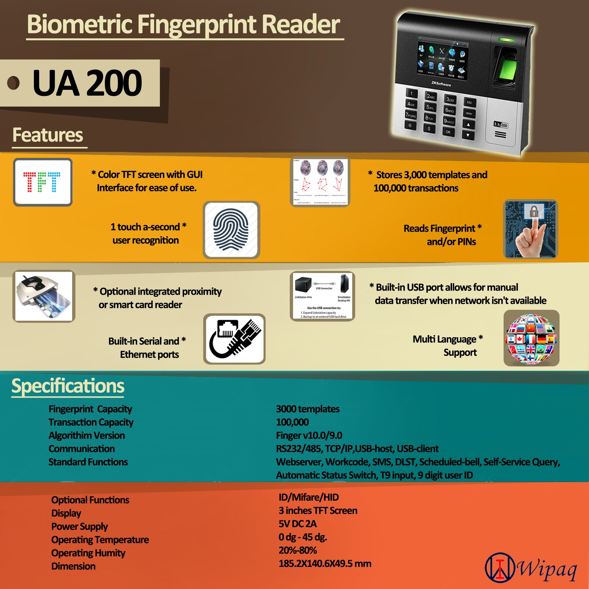 Find more about the specifications and features of ua200 wipaq provides biometric access control system and time attendance system for applications ranging from small business door systems to big enterprise colourmoves