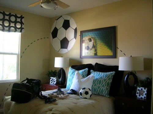 Pin By Erin Catanzarite On E S Room Kids Bedroom Soccer
