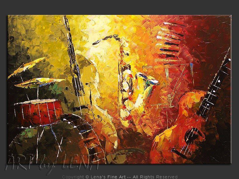 Jazz Fusion ⋆ ART by LENA Music art painting, Music art