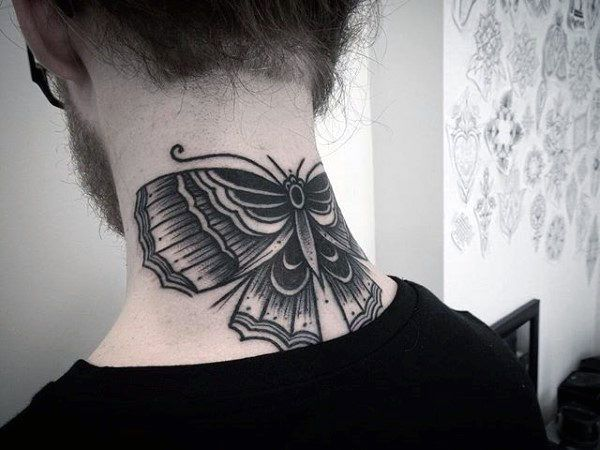 90 Moth Tattoos For Men Nocturnal Insect Design Ideas Neck Tattoo For Guys Moth Tattoo Back Of Neck Tattoo